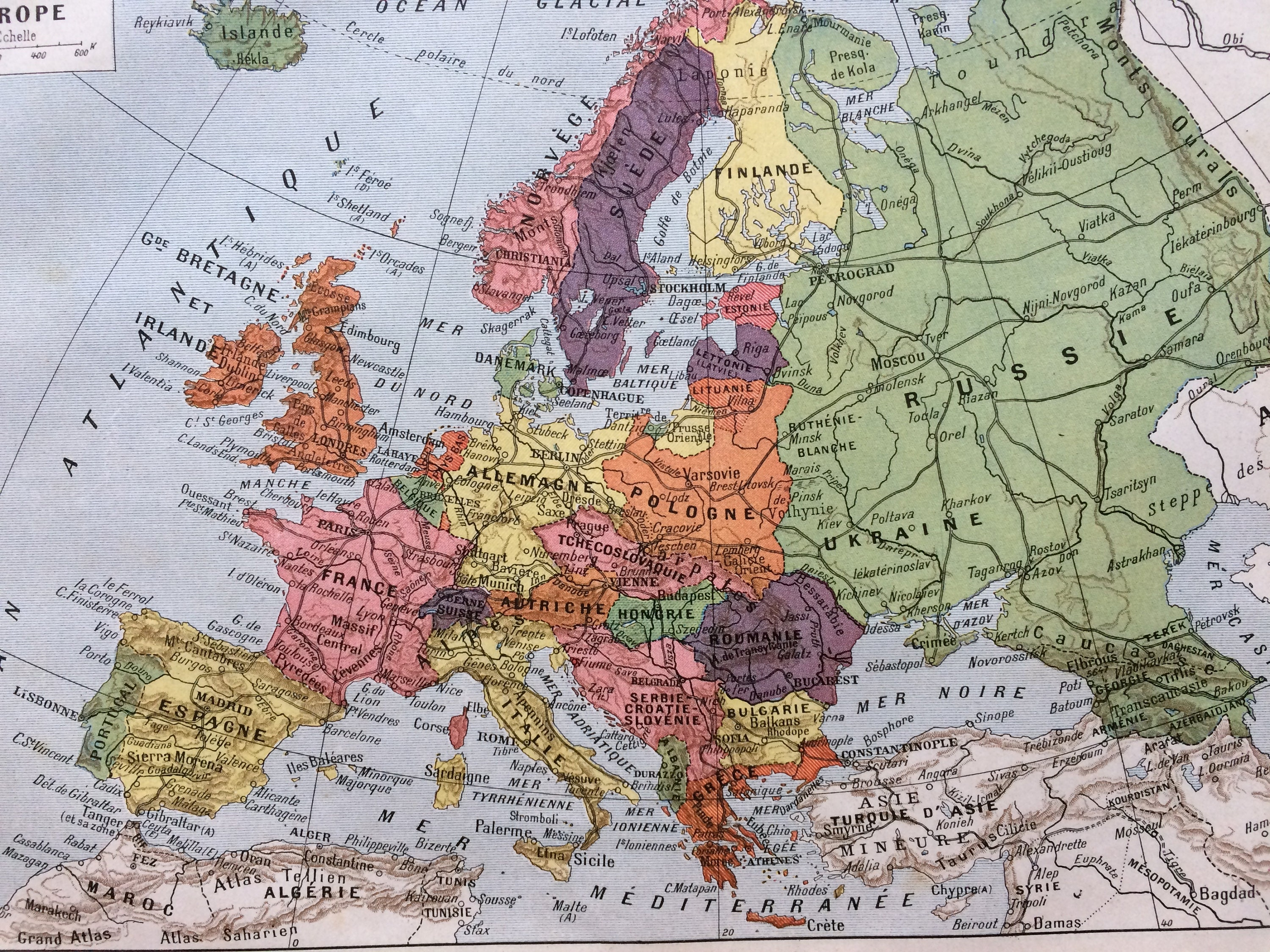 Picture of: 1923 Europe Original Antique Map Mounted And Matted Decorative Art Wall Decor Political Map Cartography Continent Map