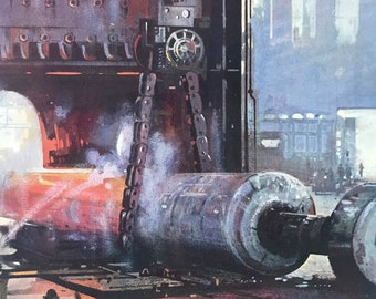 1928 Forging a Propeller Shaft for a Large Liner Original Vintage Print - Engineering - Mounted and Matted - Available Framed
