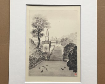 1948 Edinburgh - Allan Ramsay's Monument Original Vintage Chiang Yee Illustration - Mounted and matted - Available Framed