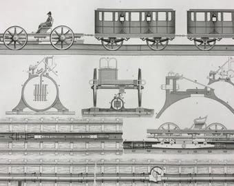 1849 Locomotive Diagram Large Original Antique Engraving - Mounted and Matted -  Victorian Technology - Railway - Train - Available Framed