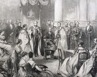 1877 Installation of the Duke of Manchester as a Knight of St Patrick antique print from engraving, Illustrated London News