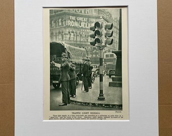 1932 Traffic Light Signals Original Vintage Print - Electricity - Physics - Science - Education - Mounted and Matted - Available Framed