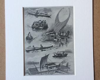 1940s Types of Watercraft Original Vintage Print - Mounted and Matted - Boat - Sailing - Kayak - Catamaran - Retro Decor - Available Framed