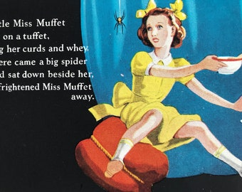 1940s Little Miss Muffet Original Vintage Illustration - Mounted and Matted - Nursery Rhyme Illustration - Available Framed
