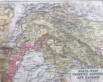 1908 North-West Frontier Province and Kashmir Original Antique Map - Available Mounted and Matted and Framed - India - Cartography