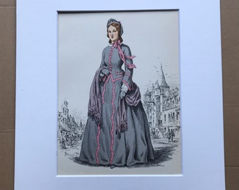 1949 Original Vintage Fashion Illustration - 1865 - The Pursuit of Fashion - Mounted and Matted - Available Framed