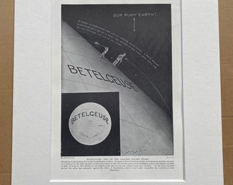 1923 Betelgeuse: One of the Largest Known Stars Original Antique Print - Mounted and Matted - Available Framed - Astronomy - Planet