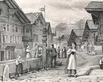 1876 Meyringen Original Antique Steel Engraving - Meiringen, Switzerland - Mounted and Matted - Available Framed