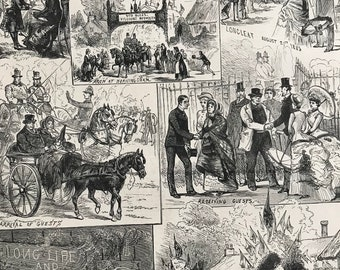 1883 Festivities at Longleat, Wiltshire on the coming of Age of Lord Weymouth Original Antique Engraving - Mounted and Matted