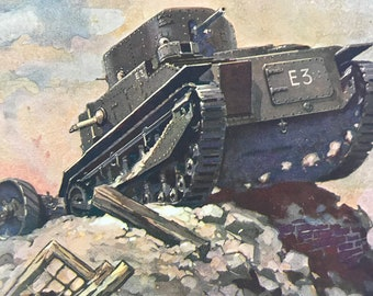 1928 Tank Original Vintage Print - Military Decor - Engineering - Mounted and Matted - Available Framed