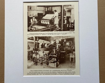 1933 Stereotyping Foundry in a Newspaper Printers Original Vintage Print - Machinery - Mechanics - Mounted and Matted - Available Framed