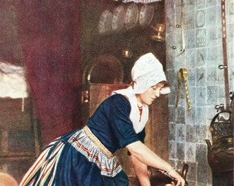 1940s Maid Cleaning Dutch Home Original Vintage Print - Holland - Mounted and Matted - Available Framed