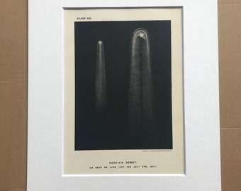 1913 Coggia's Comet Original Antique Print - Astronomy - Celestial Art - Mounted and Matted - Available Framed
