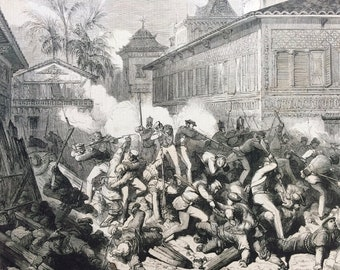 1858 The Capture of Canton: Skirmish near the West Gate of the City Original Antique Engraved Newspaper Illustration, Guangzhou, China