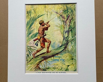 c.1950 A Dyak Head-Hunter and his Blow-Pipe Original Vintage Print - Dayak - Borneo - Mounted and Matted - Available Framed