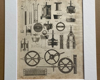1806 Pump Original Antique Engraving - Engineering - Technology - Encyclopaedia - Mounted and Matted - Available Framed