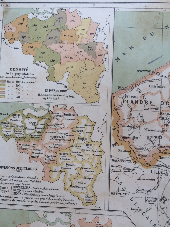 1903 BELGIUM Administrative Political Antique Map - French ...