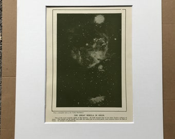 1937 The Great Nebula in Orion Original Vintage Print - Astronomy - Star - Constellation - Mounted and Matted - Available Framed