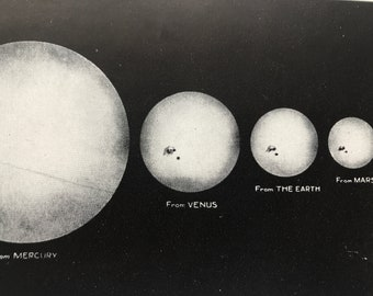 1923 Comparative Sizes of the Sun as seen from the Planets Original Antique Print - Astronomy - Mounted and Matted - Available Framed