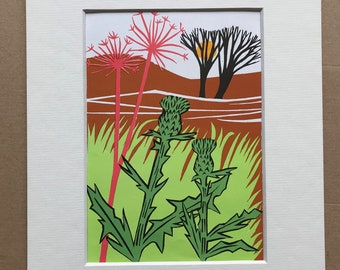 1958 Original Vintage Illustration - Mounted and Matted - Paper Cut Illustration - Colourful Wall Art - Available Framed
