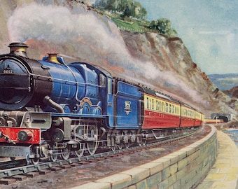 1953 The 'Cornish Riviera' Express near Dawlish, Devon Original Vintage Print - Railway - Train - Mounted and Matted - Available Framed