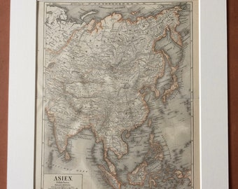 1874 Asia (Eastern States) Large Original Antique Map - Available Mounted and Matted - Victorian Decor