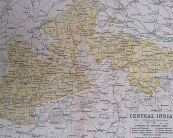 1908 Central India Original Antique Map showing Railways Opened and in Construction and Canals - Indian History