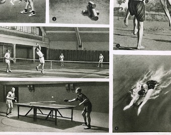 1959 Sports Original Vintage Print - Mounted and Matted - Retro Wall Art - Tennis - Volleyball - Swimming - Rowing - Available Framed