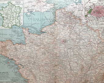 1903 France (Northern Part) Original Large Antique Map - Wall Map - Home Decor - Cartography - 11 x 16 Inches - Detailed Map - Geography