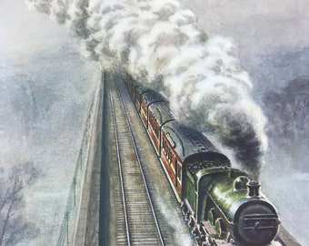 1928 Steam Train Original Vintage Print - Railway Engineering - Mounted and Matted - Available Framed