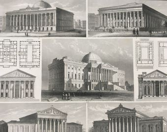 1849 Neo-Classical Architecture Large Original Antique Engraving - Mounted and Matted -  Decorative Art - Classicism - Available Framed