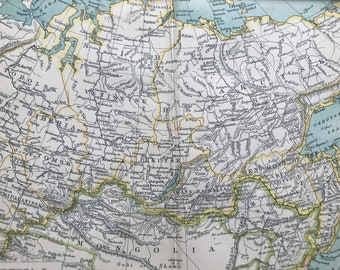 1912 Siberia Original Antique Map - Russia - Mounted and Matted - Available Framed
