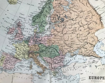 1872 Europe Original Antique Map - Available Matted and Framed - Cartography - Wall Decor - Geography - Wall Map