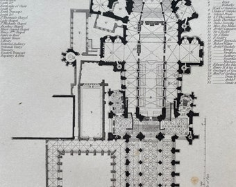 1836 Canterbury Cathedral Floor Plan Original Antique Engraving - Architecture - Mounted and Matted - Available Framed