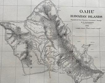 1883 Oahu - Hawaiian Islands Original Antique Map reproduced from Hawaiian Government Survey 1881