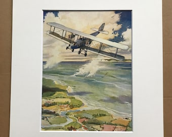 1927 British Air Express Original Vintage Print - Aircraft - Airplane - Mounted and Matted - Available Framed