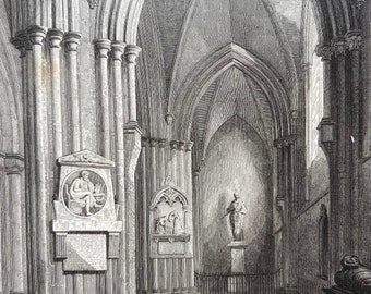 1838 Chichester Cathedral - Northern Aisle Original Antique Engraving - Architecture - Mounted and Matted - Available Framed