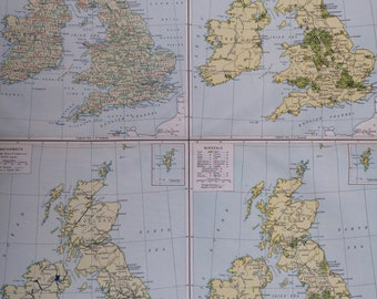 1920 British Isles (Economics) Extra Large Original Antique Map with inset maps showing Agriculture, Manufactures, Waterways and Minerals