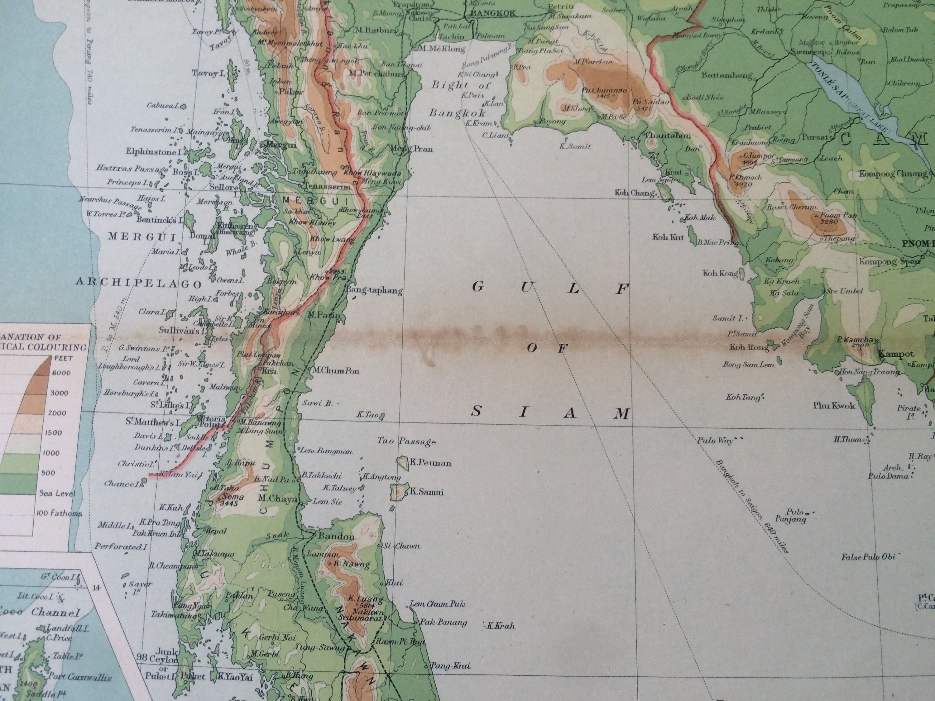 Picture of: 1922 Farther India Large Original Antique Times Atlas Physical Map With Inset Maps Of Singapore Hanoi Andaman And Nicobar Islands