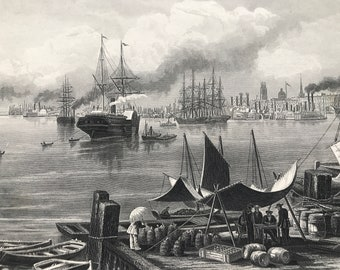 1894 New Orleans Original Antique Steel Engraving - Louisiana - Mounted and Matted - Harbour - Available Framed
