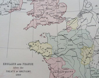 1875 England & France after the treaty of Bretigny 1360 Original Antique Map - Available Matted and Framed - Brittany - French History