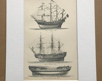 1891 War Vessels Original Antique Print - Military Decor - Old English Ships of War - Available Framed
