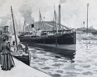 1894 Steamer passing Trafford Swing Bridge Original Antique Print - Manchester - Mounted and Matted - Available Framed