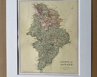 1901 County of Lanark Original Antique Map - Lanarkshire - Scottish County, Cartography, Scotland - Available Matted and Framed