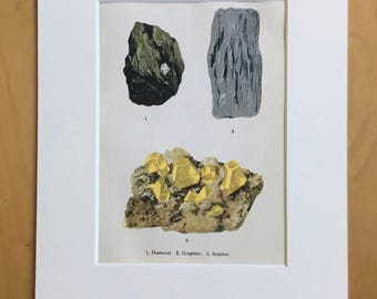 1916 Minerals Original Antique Lithograph - Mounted and Matted - 8 x 10 inches -  Diamond, Graphite, Sulphur - Mineralogy - Crystals