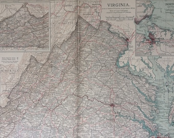 1903 Virginia Original Large Antique Map - Wall Map - Home Decor - Cartography - 11 x 16 Inches - Detailed Map - Geography