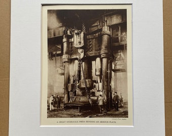 1933 A Great Hydraulic Press Bending an Armour Plate Original Vintage Print - Machinery - Mechanics - Mounted and Matted - Available Framed