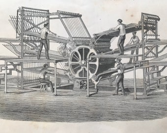 1858 Printing - Hoe's Type-Revoving Fast Printing Machine (Six Feeder) Original Antique Engraving - Victorian Technology - Available Framed