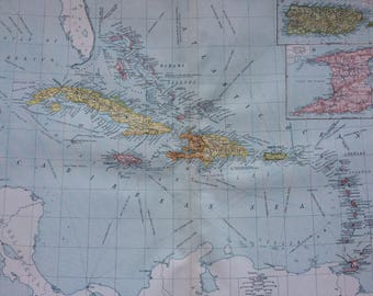 1920 West Indies Extra Large Original Antique Map with inset maps of Trinidad and Porto Rico - Showing Colonial Powers - Puerto Rico