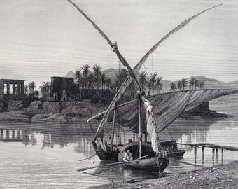 1880 Philae Original Antique Engraving - Egypt - Mounted and Matted - Available Framed